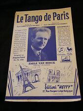 Partition Le tango de Paris Emile Van Herck  Music Sheet