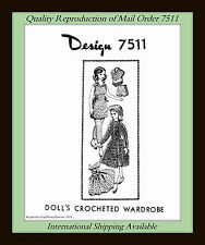 DOLL 11½ Crochet Vintage Design 7511 WARDROBE Craft SHIFT, GOWN, SHORTS and more