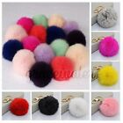 Soft Fluffy Genuine Rabbit Fur Ball PomPom Car Keychain Handbag Charm Key Rings