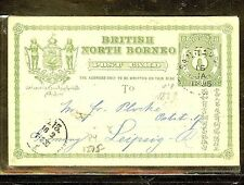 NORTH BORNEO (P1106B) PSC 8C 1895 TO GERMANY WITH SHORT MSG