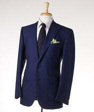 NWT $6400 CESARE ATTOLINI Peak Lapel Royal Navy Blue Wool Suit Slim 40 R (Eu 50)