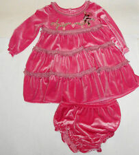 NEW 2PC DISNEY MINNIE DRESS 9-12 MONTHS BABY GIRL SHIMMERY VELOUR