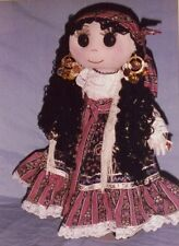 "Sewing Patterns & instructions for a  20"" Bohemian Gypsy Fabric Cloth Rag Doll."