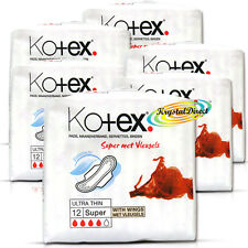 6x Kotex Ultra Thin 12 Super With Wings Sanitary Protection Silky Soft Pads