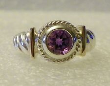 Sterling Silver bezel-set Amethyst Ring with 14K Yellow Gold Accents -  5