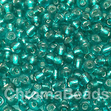 50g glass seed beads - Sea Green Silver-Lined - approx 4mm (size 6/0) craft