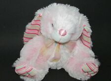 Atico plush bunny rabbit soft pink striped ears feet polka dot ribbon satin 9""