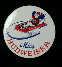 "MISS BUDWEISER BUD MAN DRIVING U-1 LARGE 4"" PIN BACK BUTTON  A17"
