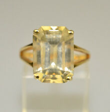 VINTAGE 14K YELLOW GOLD 7 CARAT EMERALD-CUT LIGHT YELLOW CITRINE RING  SIZE 7