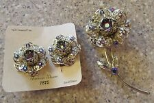 VINTAGE SARAH COVENTRY GOLDTONE FASHION FLOWER PIN/BROOCH and EARRINGS SET