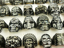 FREE Wholesale Lots 10pcs Skull Carved Biker Men's Black Tone Rings jewelry