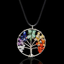 Crystal Quartz Natural Gemstone 7 Chakra Healing Tree of Life Pendant Necklace