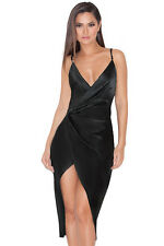 "HOUSE OF CB 'Coco' Black Satin Drape Back Dress ""Faulty"" MM 1440"