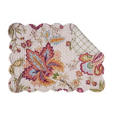 BETHANY Quilted Reversible Placemat by C&F - Wine Gold Green Blue on Off-White