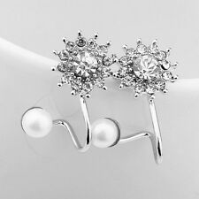 1Pair Woman Flower Crystal Pearl Rhinestone Stud Earrings Fashion Jewelry Gifts