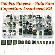 150Pcs 100V 15Value 0.47nF~470nF Polyester Film Capacitors Assortment Box Kit