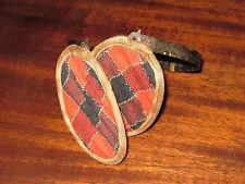 Antique child plaid ear muffs with metal band
