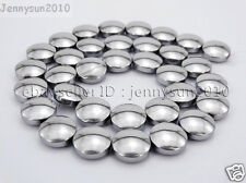 Natural Hematite Gemstone 12mm Round Disc Button Loose Beads Silver 16'' Strand