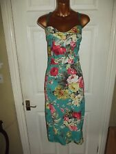 Gorgeous BNWT turquoise green pink floral vintage style cocktail dress size 14
