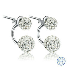 925 Sterling Silver Shamballa earring CZ Cubic Zirconium clear crystal DLE87