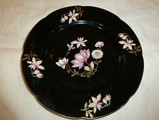 Royal Bayreuth Germany U.S. Zone Plate, Black, Pink/Yellow Flowers, Gold Tone