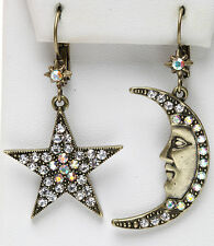 KIRKS FOLLY LUNA & STELLA CRESCENT MOON  & STAR LEVERBACK EARRINGS