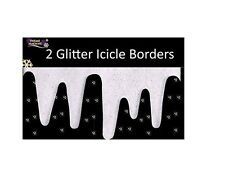 2 Glitter Icicle Border Decorations 2.4m Fake Snow Christmas Window Drape 1 pack
