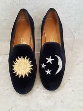 Stubbs and Wootton Shoes Sz 9.5 Blue Velvet Sun Moon Stars Loafers Slippers