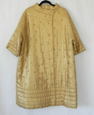 Vtg Over-Sized Coat Metallic Gold Insulated Sequin Trim Half-Sleeve Size XL