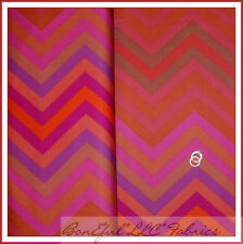 BonEful Fabric FQ Cotton VTG Red Pink Brown Purple Chevron Stripe Hippie Zig Zag