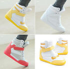 Womens Velcro High Top Wedge Sneakers Lace Up Girls Casual Shoes Skateboard Boot