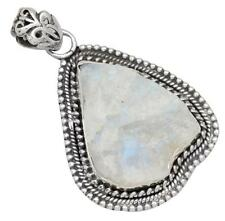 Rainbow Moon Stone Gemstone Pendant Solid 925 Sterling Silver Jewelry IP28143