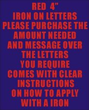 """Pack of 10 x 4"""" red Iron On Characters - Letters or Numbers Vinyl Printing"""