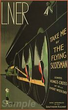 VINTAGE FLYING SCOTSMAN LNER RAILWAY A4 POSTER PRINT