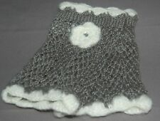 Studio S Crochet Texting Fingerless Gloves Gray & White Flower Rhinestone NWT