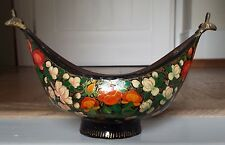 Vintage Qajar Persian Indian Brass Lacquer Papier Mache Kashkul Begging Bowl