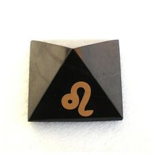Shungite pyramid with astrological sign Leo (5 cm)