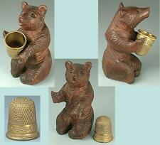 Antique Carved Black Forest Bear Thimble Holder w/ German Thimble * Circa1890s