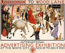 1920 British Underground Wood Lane Ad exhibition Poster  11 x 14 Giclee print