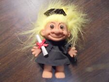"""RUSS """" Black Gown Graduate With Yellow Hair""""  Troll Doll  5"""""""