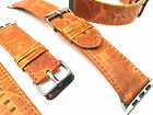 HIGH Quality Vintage Orange Leather Watch Strap Band for Apple Watch Iwatch 42mm
