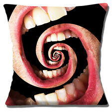 """NEW BIZARRE MOUTH TEETH LIPS SURREAL PHOTO BLACK PINK 16"""" Pillow Cushion Cover"""
