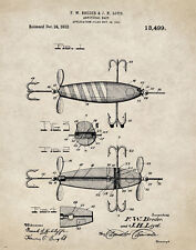 "Fishing Lure US Patent Poster Art  Antique Reels Fly Rods Flies 11""x14"" PAT01"