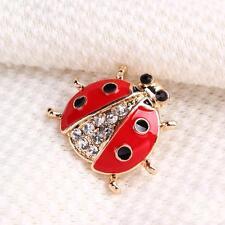 Ladybug Rhinestone Crystal Gold-plated Brooch Pin Women Bridal Wedding Jewelry
