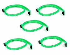 5x 18inch SATA 3.0 III SATA3 SATAiii 6GB HDD Hard Drive Data Cable UV Green Cord