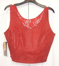 NEW VINTAGE BERMANS EMBOSSED LEATHER CROP TANK TOP RED WITH LACE BACK SZ L