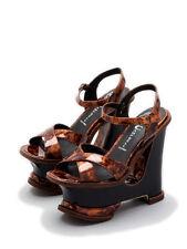 JEFFREY CAMPBELL tortoise brown Hare 2 Mod platform sandal wedge heel size 9