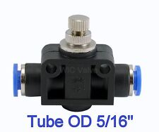 """1pc Air Flow Speed Control Valve Tube OD 5/16"""" Inch Pneumatic Push In Fitting"""