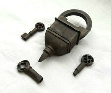 * Old Looking 3 Keys Iron Tricky / Puzzle Pad Lock , Rich Patina , Collectible *