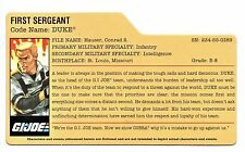 G I JOE File Card Filecard      2009  Resolute     Duke V32